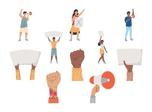 Cinco ativistas protestando