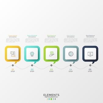 Cinco balões de fala quadrados com símbolos lineares dentro e caixas de texto colocadas em linhas horizontais. conceito de 5 etapas de desenvolvimento progressivo. modelo de design moderno infográfico. ilustração vetorial.