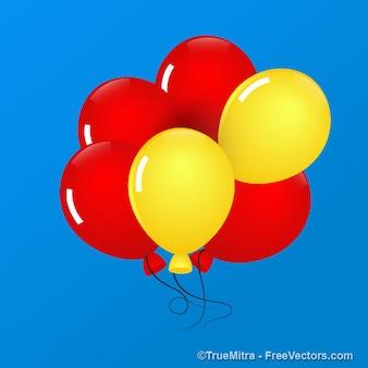 Cinco balões flutuam no céu azul