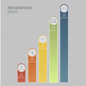 Cinco banners de número, gráfico de negócios, colunas de dados de cores com 5 opções, web.