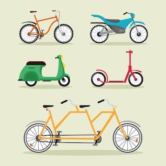 Cinco bicicletas e veículos motocicletas