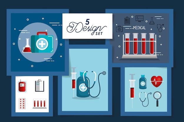 Cinco cartas de ícones de medicina