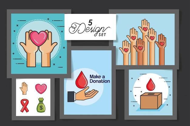 Cinco cartões de fazer uma doação