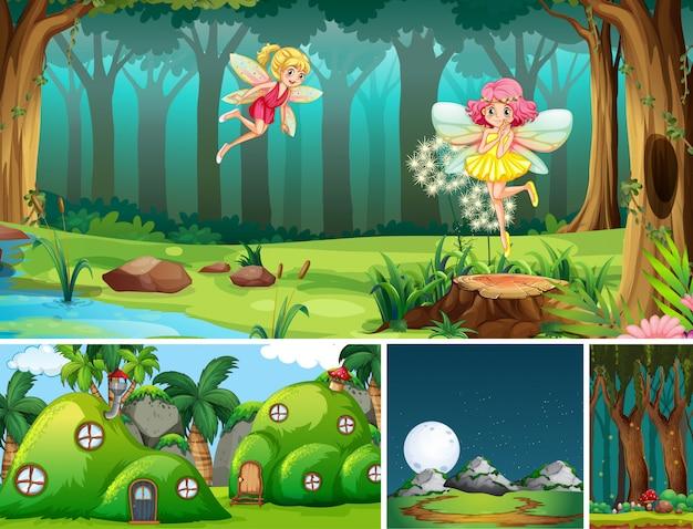 Cinco cenários diferentes do mundo de fantasia com belas fadas no conto de fadas e no formigueiro
