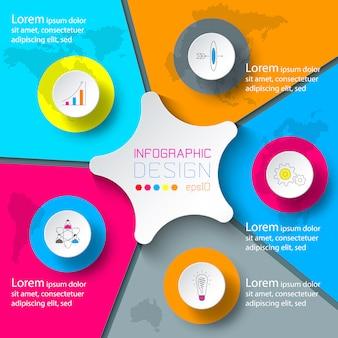 Cinco círculos com infográficos de ícone de negócios