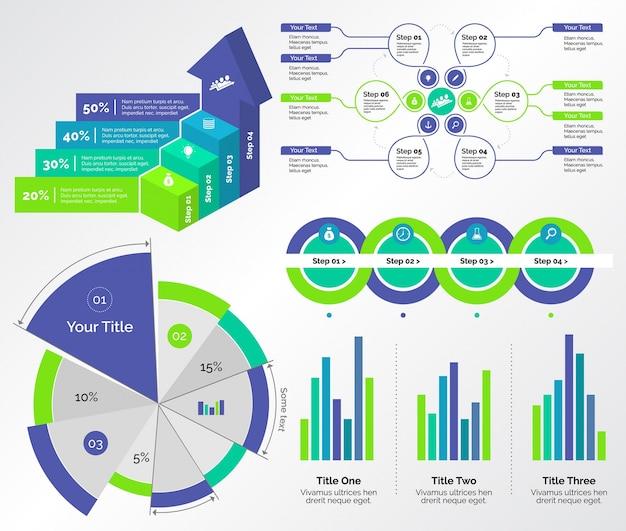 Cinco conjuntos de modelos de gráficos comerciais