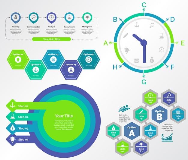 Cinco conjuntos de modelos de gráficos para trabalho em equipe