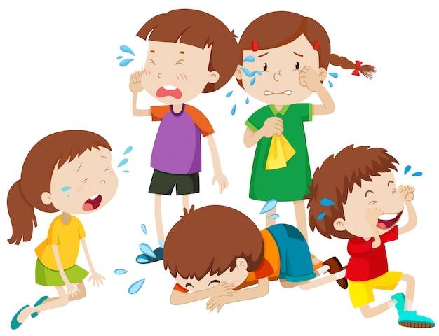 Cinco, crianças, chorando, lágrimas, ilustração