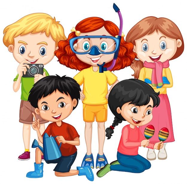 Cinco crianças com hobbies diferentes