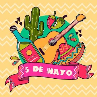 Cinco de maio com guitarra e chapéu
