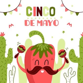 Cinco de maio com pimenta e maracas