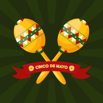 Cinco de maio, duas maracas mexicanas, ilustração