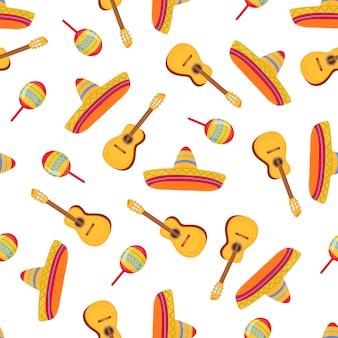 Cinco de maio. sombrero, maracas e guitarra. padrão sem emenda de chapéu de palha de abas largas mexicanas. pode ser usado como papel de parede, papel de embrulho, têxteis.