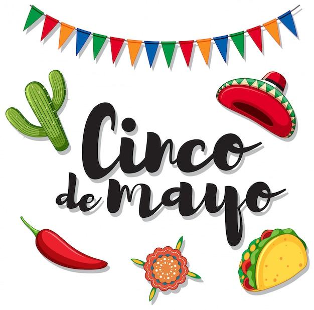 Cinco de mayo com ornamentos mexicanos