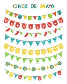 Cinco de mayo conjunto de bandeiras coloridas e guirlandas