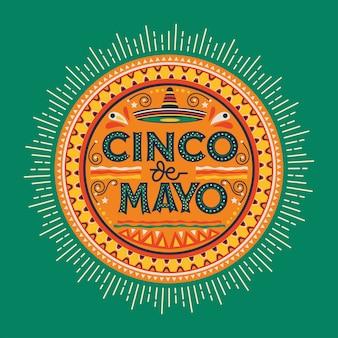 Cinco de mayo festa mexicana férias mão escrita e decoração premium