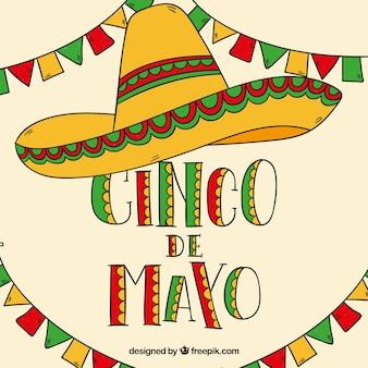 Cinco de mayo fundo com chapéu mexicano e bandeirolas
