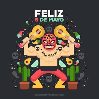 Cinco de mayo fundo com lutador mexicano