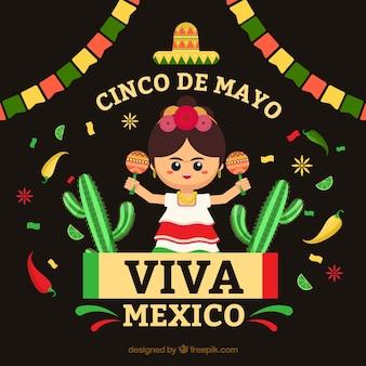 Cinco de mayo fundo com mulher mexicana