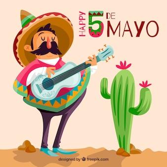 Cinco de mayo fundo com músico mexicano