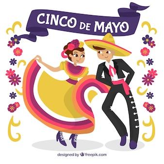 Cinco de mayo fundo com pessoas dançando