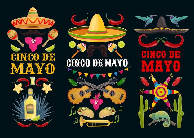 Cinco de mayo ícones pinata, colibri e pimenta jalapeño com bigode e sombrero