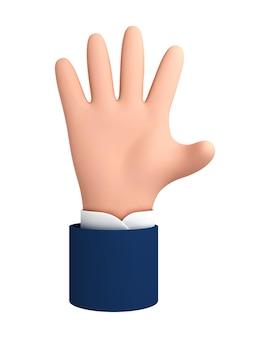 Cinco dedos, olá ícone social palm. gesto com a mão do personagem dos desenhos animados. mão humana dos desenhos animados do vetor isolada no fundo branco.