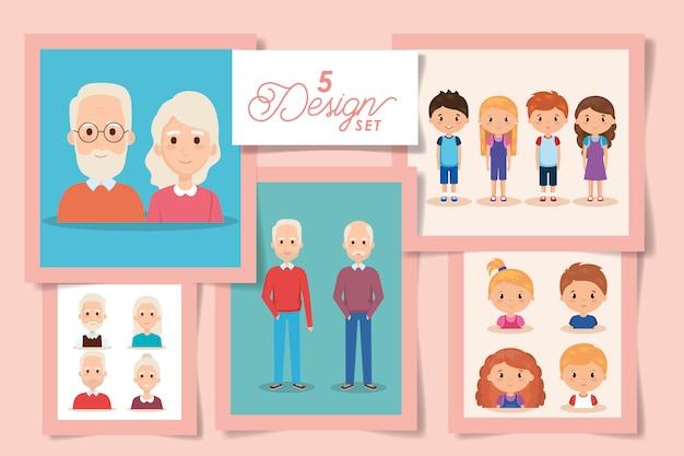 Cinco desenhos de avós e netos