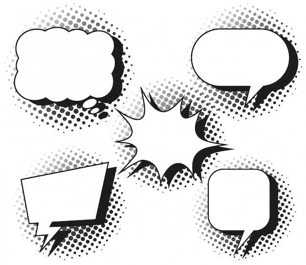Cinco desenhos de balões de fala