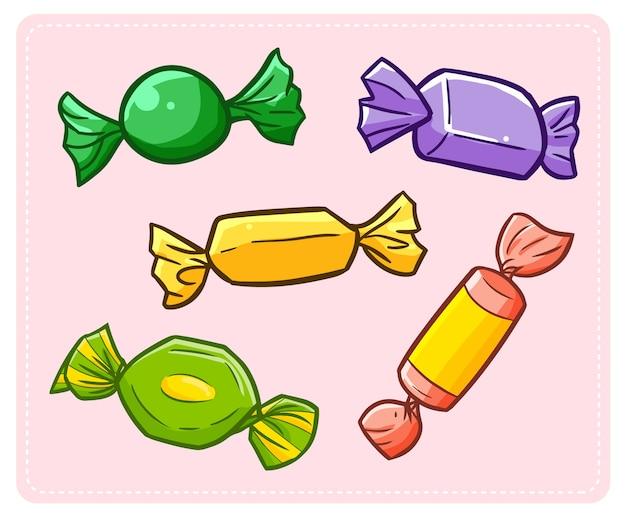 Cinco doces coloridos doces engraçados e bonitos para qualquer festa.