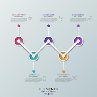 Cinco elementos circulares conectados por linha em zigue-zague, símbolos lineares e lugar para texto. linha do tempo horizontal com 5 opções. limpe o modelo de design do infográfico. ilustração vetorial para brochura comercial.
