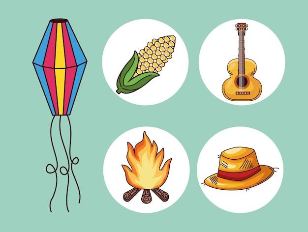 Cinco elementos de festa junina