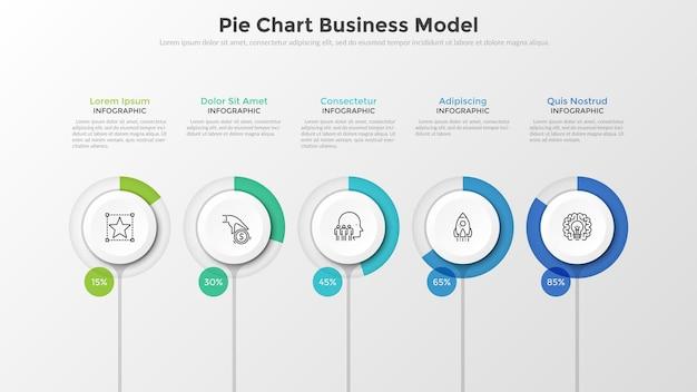 Cinco elementos de papel branco com barra de progresso redonda e indicação de porcentagem colocados na linha horizontal. modelo de negócios do gráfico de pizza. ilustração em vetor limpo moderno para apresentação, folheto, relatório.