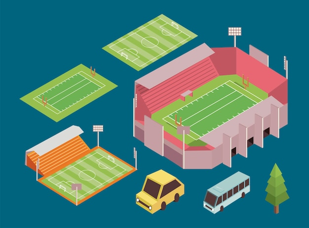 Cinco elementos esportivos isométricos