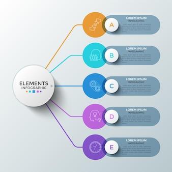 Cinco elementos redondos coloridos com símbolos lineares dentro e caixas de texto conectadas ao círculo principal. conceito de 5 etapas sucessivas de desenvolvimento de startups. modelo de design do infográfico. ilustração vetorial.