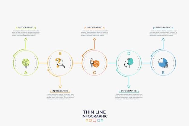 Cinco elementos redondos com ícones de linha fina colocados em uma linha horizontal e conectados por setas. conceito de 5 etapas sucessivas do processo de desenvolvimento. layout do projeto infográfico. ilustração vetorial.