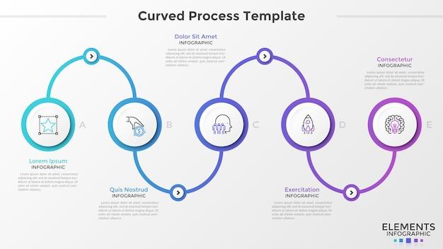Cinco elementos redondos de papel branco com símbolos lineares dentro, conectados por linha curva colorida gradiente. conceito de 5 etapas do processo de negócios. modelo de design moderno infográfico. ilustração vetorial.