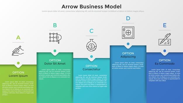 Cinco elementos retangulares coloridos, pictogramas de linha fina, ponteiros e caixas de texto. conceito de modelo de negócios de flecha com 5 etapas sucessivas. modelo de design moderno infográfico. ilustração vetorial.