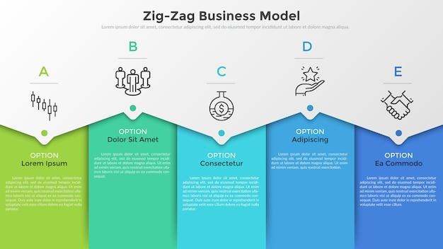 Cinco elementos retangulares coloridos, pictogramas de linha fina, ponteiros e caixas de texto. conceito de modelo de negócios em zigue-zague com 5 etapas sucessivas. modelo de design moderno infográfico. ilustração vetorial.