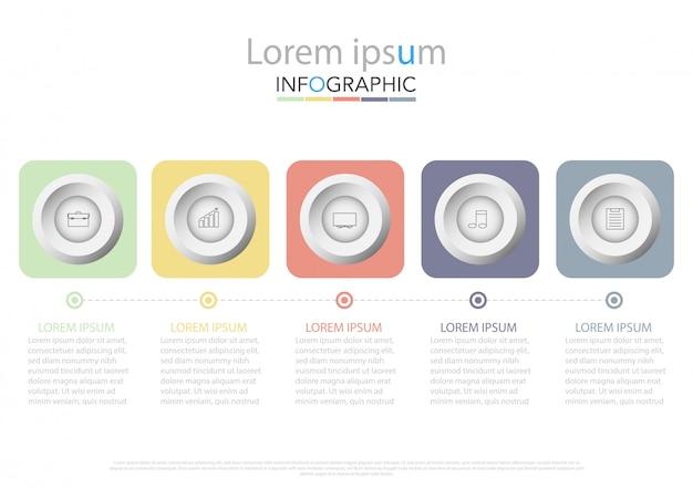 Cinco elementos retangulares coloridos, pictogramas de linhas finas, ponteiros e caixas de texto