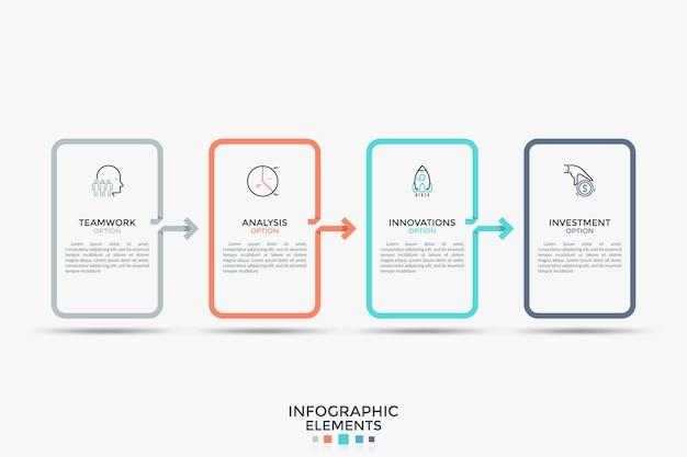 Cinco elementos retangulares conectados por setas. modelo de design simples infográfico. ilustração em vetor moderno para folheto, relatório, gráfico de processo, barra de progresso, visualização do conceito de negócio.