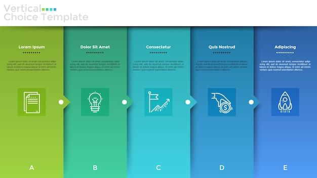 Cinco elementos retangulares sobrepostos coloridos com símbolos lineares e descrição dentro, dispostos em fileiras horizontais e conectados por setas. modelo de design do infográfico. ilustração vetorial moderna.