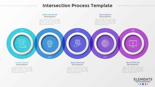 Cinco elementos translúcidos redondos com ícones lineares colocados em uma linha horizontal e interceptados. conceito de processo em 5 etapas. modelo de design criativo infográfico. ilustração vetorial para relatório.