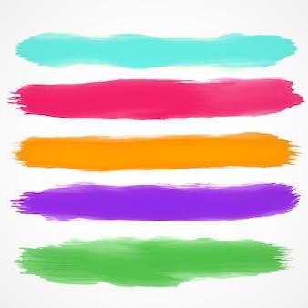 Cinco escovas conjunto de mancha de aquarela
