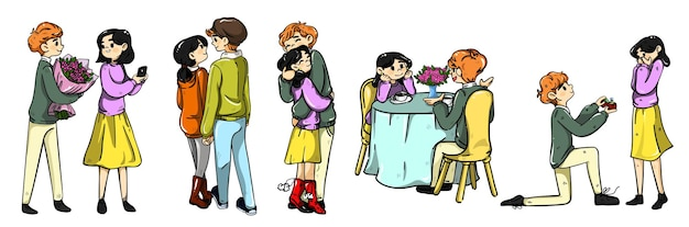 Cinco estágios de criação de uma família. ilustração colorida dos desenhos animados isolada no branco