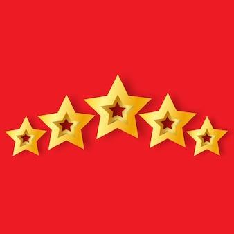 Cinco estrelas de ouro realista de origami