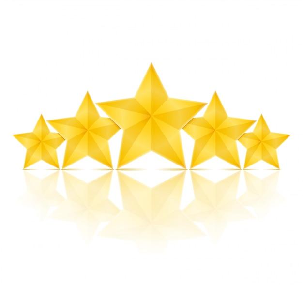 Cinco estrelas douradas com reflexo no fundo branco, ilustraã§ã £ o vetorial eps10