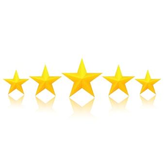 Cinco estrelas douradas com reflexo