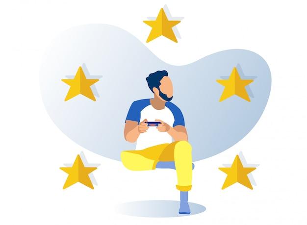 Cinco estrelas douradas, personagem masculino gamer cartoon