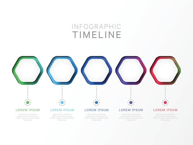 Cinco etapas 3d modelo infográfico com elementos hexagonais.